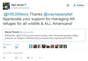 USFWS Director Dan Ashe Tweets his thanks to HSUS.